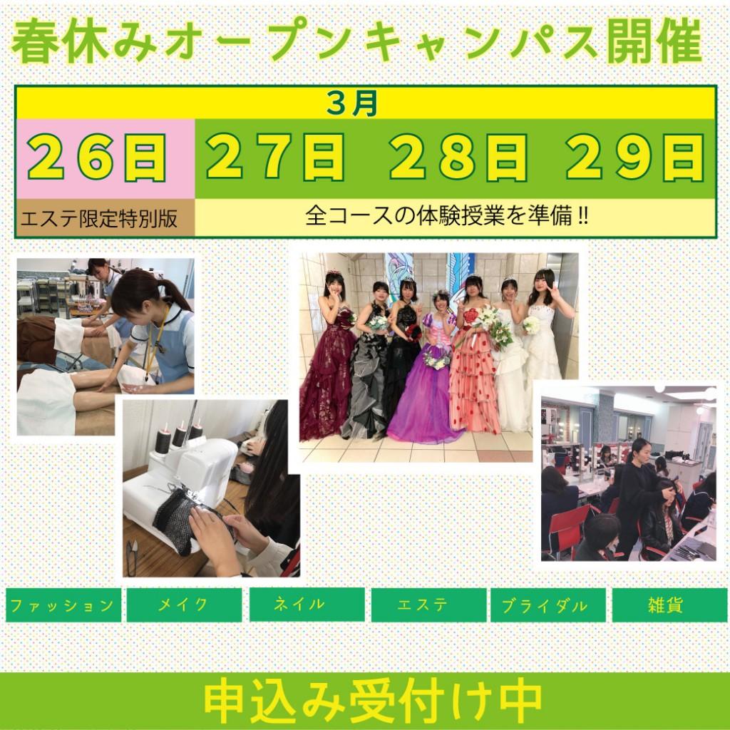2020年3月27日(金) ・28日(土)・29日(日)オープンキャンパスのお知らせ(10:00~15:00/ランチ付き)